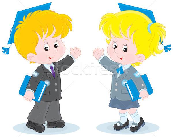 Iskolás gyerekek iskolás lány iskolás fiú visel tart tankönyvek Stock fotó © AlexBannykh