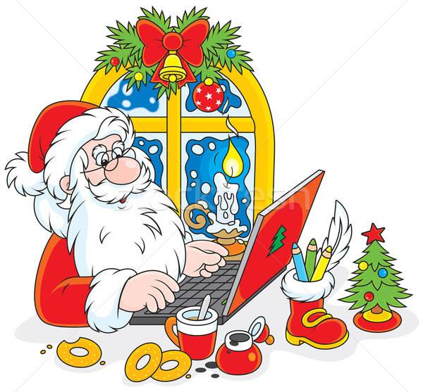 Santa Claus with his laptop Stock photo © AlexBannykh