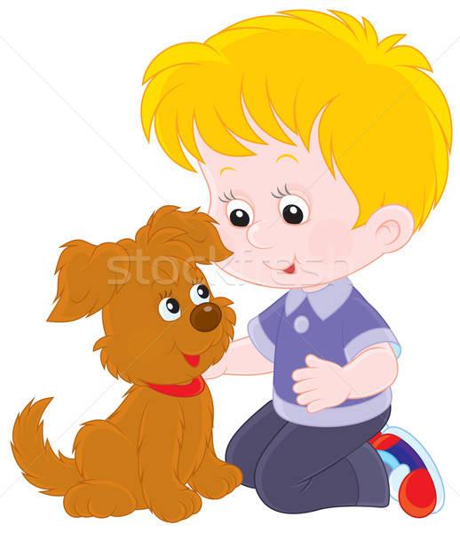 Fiú kutyakölyök kicsi játszik barna kutyakölyök Stock fotó © AlexBannykh