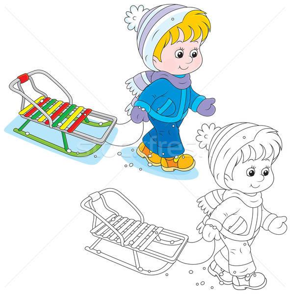 Copil Sanie Băiat Fată Iarnă Ilustratie Vectoriala