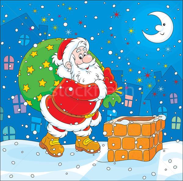 Santa with his bag of gifts Stock photo © AlexBannykh