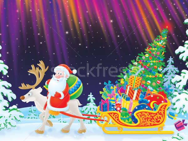 Natal presentes papai noel rena trenó Foto stock © AlexBannykh