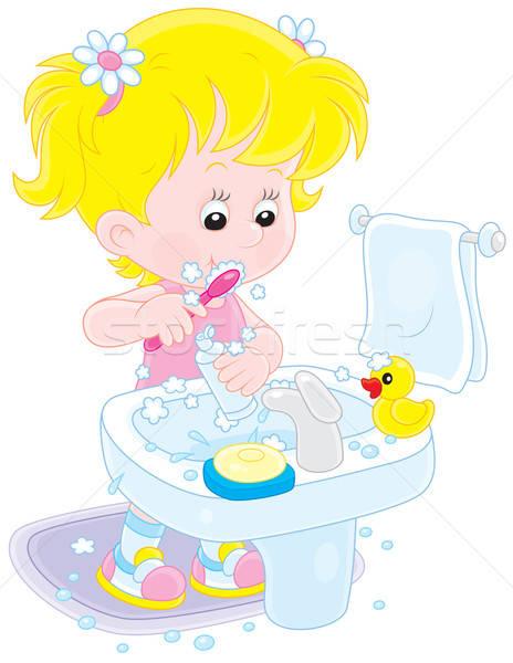 Сток-фото: ребенка · девочку · очистки · зубов · ванную