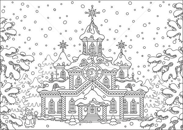 Mikulás ház apa karácsony áll nagy Stock fotó © AlexBannykh