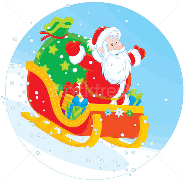 Santa Claus sledding with gifts Stock photo © AlexBannykh