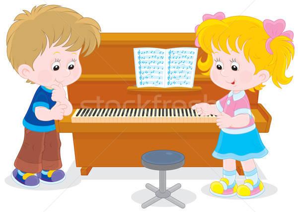 Children play a piano Stock photo © AlexBannykh