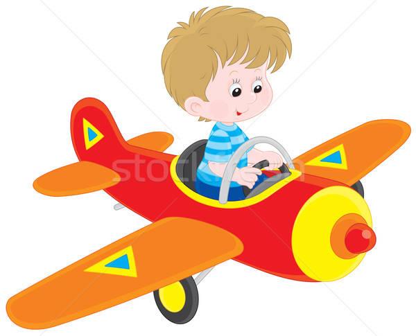 Chłopca pilota mały pływające zabawki płaszczyzny Zdjęcia stock © AlexBannykh