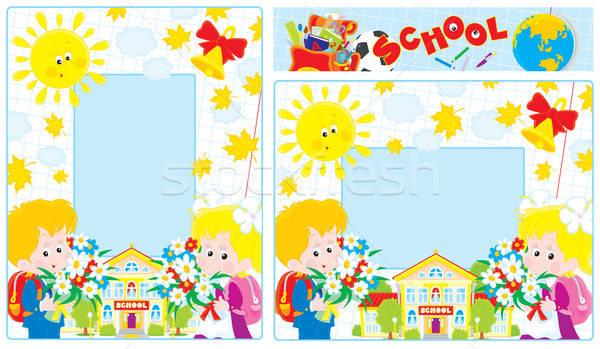 Iskola keretek fotó keret első tart Stock fotó © AlexBannykh