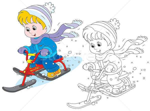 Kind sneeuw weinig jongen meisje Stockfoto © AlexBannykh