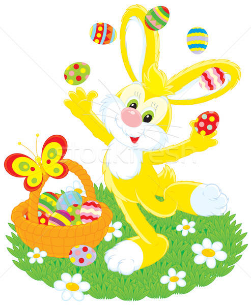 Easter Bunny juggles painted eggs Stock photo © AlexBannykh