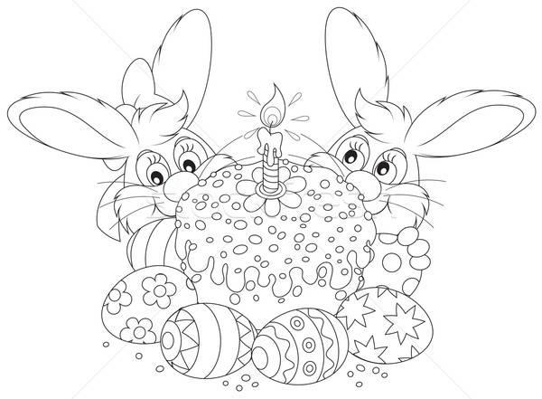 Easter cake and eggs Stock photo © AlexBannykh