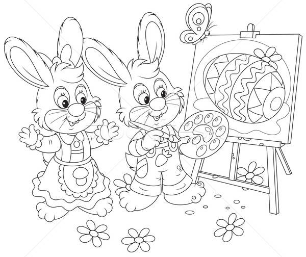 Easter Bunnies painters Stock photo © AlexBannykh