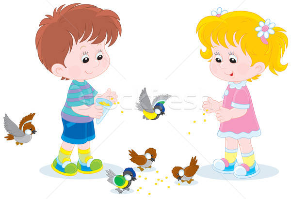 Foto stock: Crianças · pequeno · aves · pequeno · menino · menina