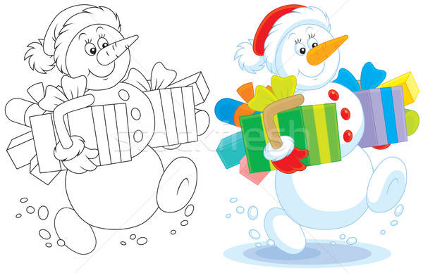 Sneeuwpop christmas geschenken grappig vriendelijk glimlachend Stockfoto © AlexBannykh