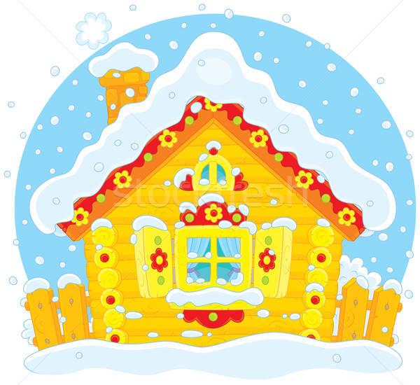 Kicsi kunyhó hó rusztikus ház fedett Stock fotó © AlexBannykh