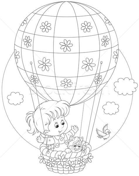 Child flying on a balloon Stock photo © AlexBannykh