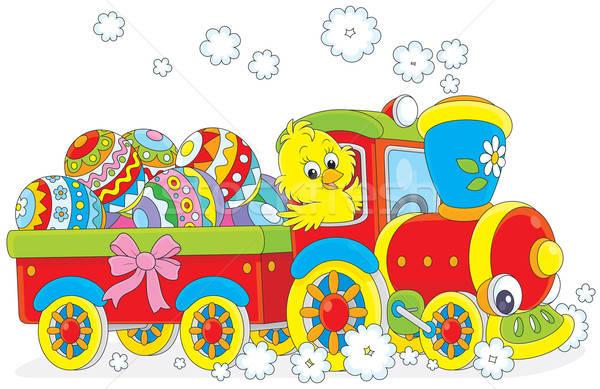 Páscoa pintinho trem pequeno frango brinquedo Foto stock © AlexBannykh