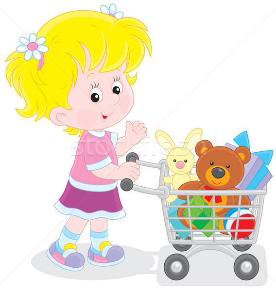 Girl with a shopping trolley of toys Stock photo © AlexBannykh