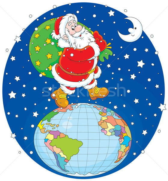 Stock photo: Santa with his bag of gifts