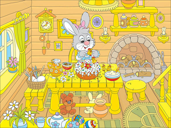 Easter bunny cooks a holiday cake Stock photo © AlexBannykh