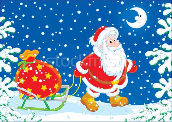 Święty mikołaj dar worek Święty mikołaj duży Zdjęcia stock © AlexBannykh