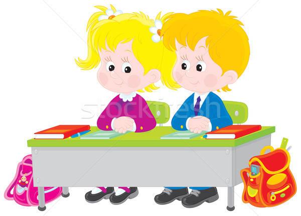 Iskolások lecke általános iskola diákok ül asztal Stock fotó © AlexBannykh