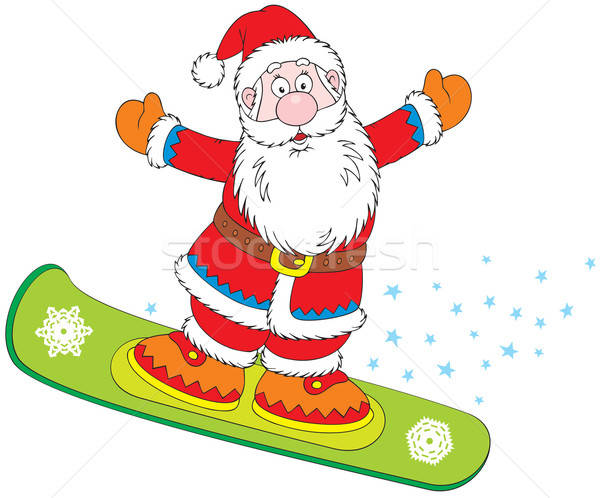 Mikulás snowbordos sport tél ünneplés snowboard Stock fotó © AlexBannykh