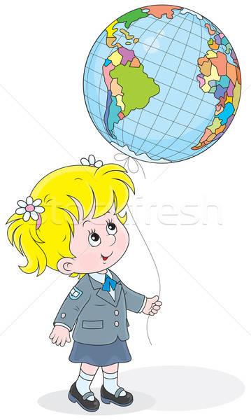 Schoolgirl with a globe - balloon Stock photo © AlexBannykh