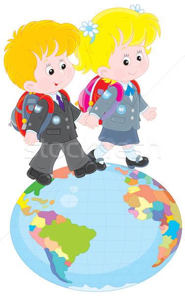 Schoolchildren going on a globe Stock photo © AlexBannykh