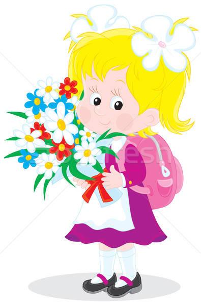 Stock photo: Schoolgirl with flowers