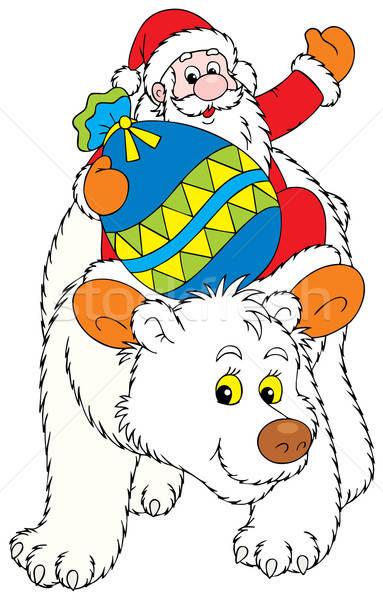 Święty mikołaj niedźwiedzia polarnego worek christmas prezenty duży Zdjęcia stock © AlexBannykh