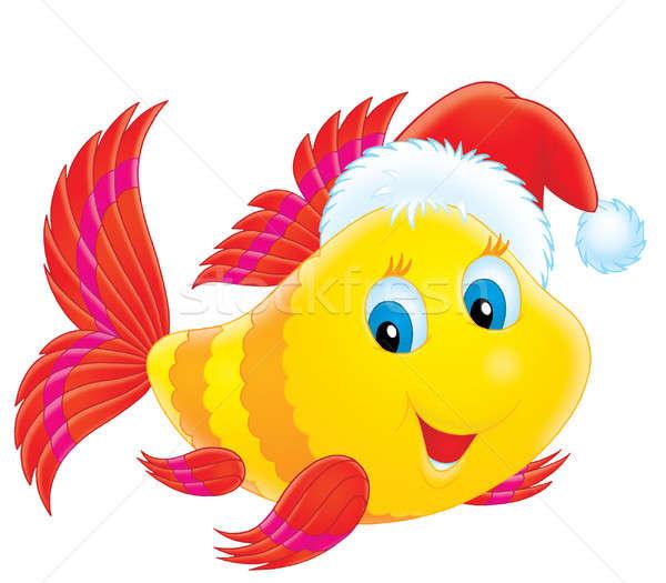 Coral peixe seis engraçado papai noel Foto stock © AlexBannykh