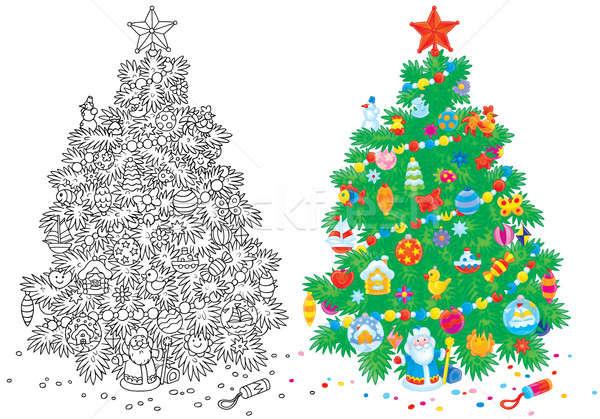 Karácsonyfa zöld fenyő díszítések szín illusztráció Stock fotó © AlexBannykh