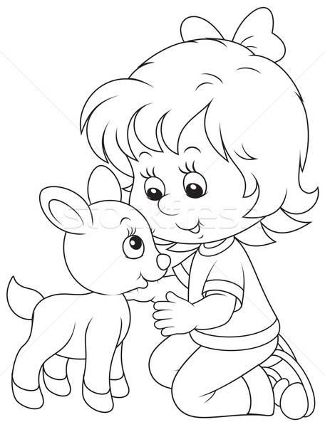 Menina branco little girl pequeno criança jeans Foto stock © AlexBannykh