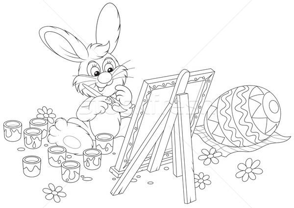 Easter Bunny artist Stock photo © AlexBannykh