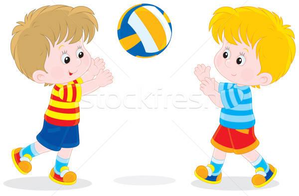 Kinderen spelen volleybal twee weinig jongens Stockfoto © AlexBannykh
