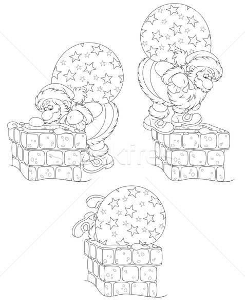 商业照片: 圣诞老人 · 礼品 · 烟囱 · 圣诞老人 · 圣诞节