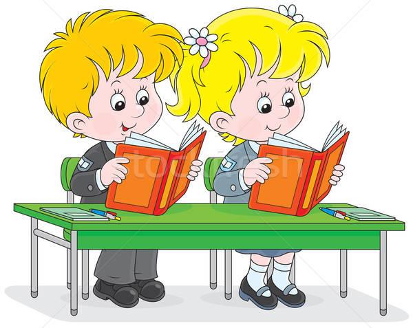 Schoolchildren read at a lesson Stock photo © AlexBannykh