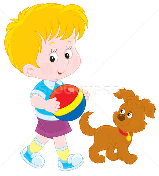 Jongen weinig lopen bruin hond Stockfoto © AlexBannykh