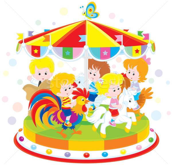 Carrousel kinderen paardrijden grappig amusant park Stockfoto © AlexBannykh