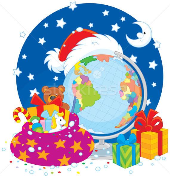 Natal papai noel seis presentes globo lua Foto stock © AlexBannykh