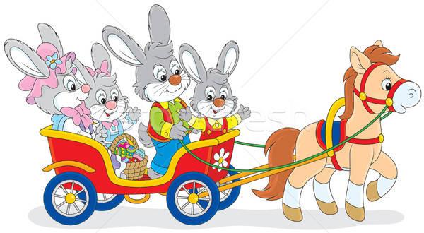 イースター ライディング ポニー キャリッジ 家族 ウサギ ストックフォト © AlexBannykh