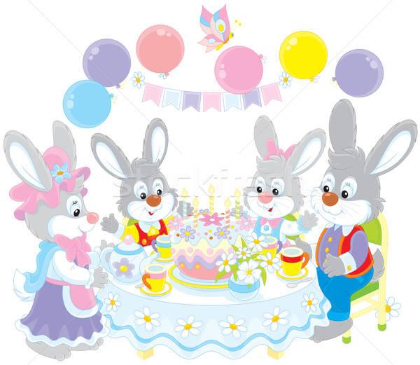 Verjaardag familie konijnen vakantie tabel verjaardagstaart Stockfoto © AlexBannykh
