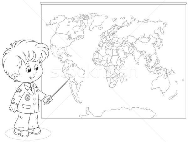 Schoolboy at a World map Stock photo © AlexBannykh
