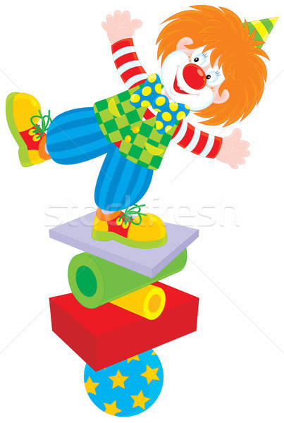 Circus clown vector clipart grappig balancing Stockfoto © AlexBannykh