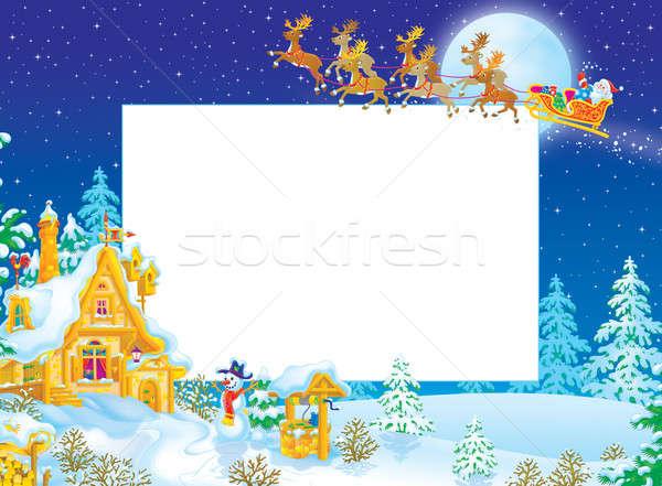 Сток-фото: Рождества · границе · Дед · Мороз · Flying · сани · лес