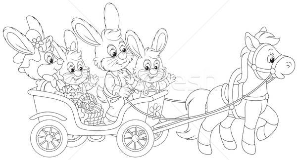 Easter bunnies riding a pony carriage Stock photo © AlexBannykh