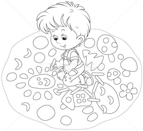 Child drawing Stock photo © AlexBannykh