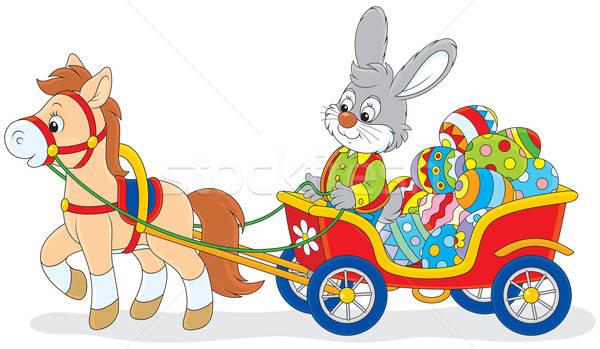 Easter Bunny konijn paaseieren winkelwagen pony Stockfoto © AlexBannykh