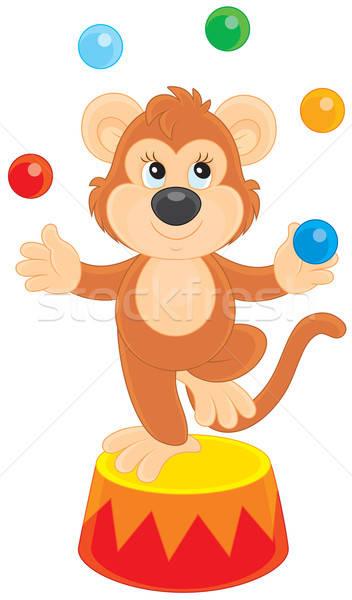 Cirkusz majom csimpánz zsonglőrködés szín golyók Stock fotó © AlexBannykh